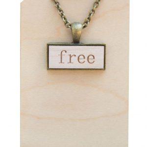"""free"" pendant necklace"
